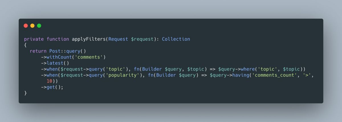 Apply Filters Conditionally In Laravel With when()